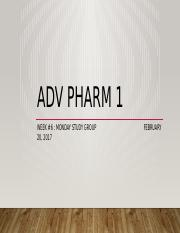 AdvPharmMondayStudyWeek6Part1