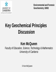 Key Geochemical Principles Discussion