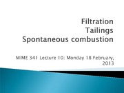Lecture 10 - Filtration tailings spontaneous combustion