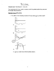 MTH 150 Exam One Sample Exam Solutions