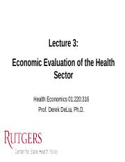 HealthEcon 3 - Econ eval of hlth sector