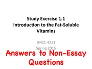 Non-Essay Answers to Study Exercises 1.1-2.2 (4211 Spring 2015)