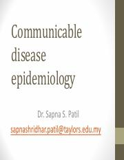 EPI- 4 Communicable Disease Epidemiology II