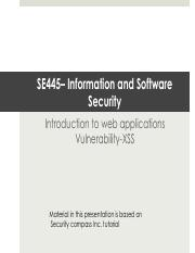 SE445-Chapter3-WebApplicationsAndSecurityVulnerablityXSS