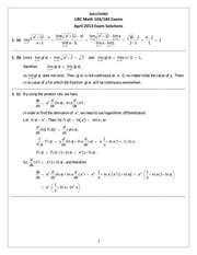 Math 104 Exam Package Solutions Dec 2013