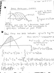 Area between curves notes