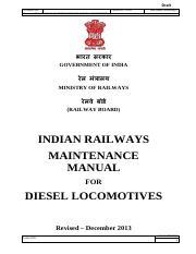 maintenance manual for diesel locomotives draft document no rh coursehero com Diesel Locomotive Trains Diesel- Electric Locomotive