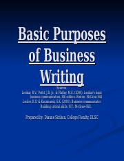 Purposes  Style of Business Writing