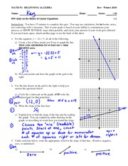 Quiz Solution on Basics of Graphing and Linear Equations