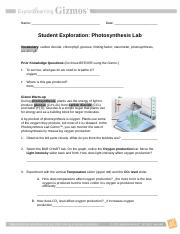 Photosynthesis Lab Gizmo