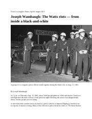 ARLT101. class 8a.  Joseph Wambaugh.  The Watts Riots.  From Inside a Black and White. 2015
