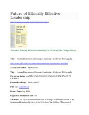 ETHICS-FEEL-Title-Human Dimension of Strategic Leadership - A Selecetd Bibliography - US Military.do