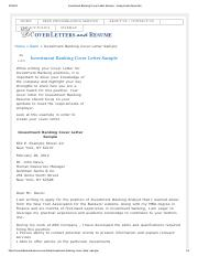 4 Pages Coverlettersandresume Investment Banking Cover Letter Sample Analyst And Associatepdf