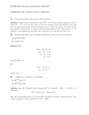 Assignment #3- Number theory. Solutions