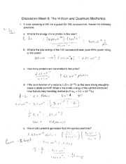 The H Atom and Quantum Mechanics Intermediate Discusion