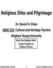 GEOG 353 W16 - Lecture 15 - Religious Sites and Pilgrimage (Full Notes)