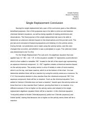 Single Replacement Conclusion