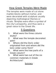 How Greek Temple Were Made