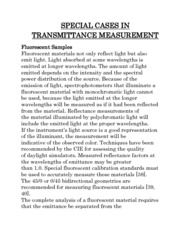 SPECIAL CASES IN TRANSMITTANCE MEASUREMENT