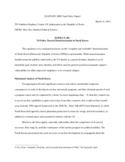 Policy Memo on North Korean Denuclearization