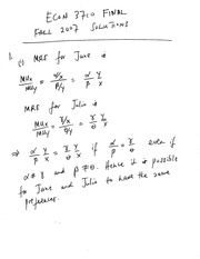 ECON 3710 Fall 2007 Final Exam Solutions