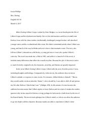 film analysis gilbert grape learns to eat michael hursh 5 pages what s eating gilbert grape essay