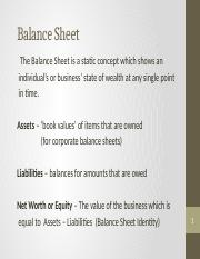 Balance Sheet & Income Statement Lessons