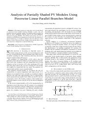 Analysis of Partially Shaded PV Modules Using