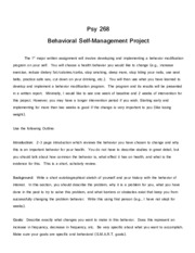 Behavior Modification Project Rubric
