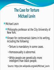 michael levin case for torture