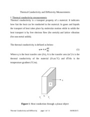 Thermal Conductivity and Diffusivity Measurements