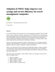 Adoption of SMAC helps improve cost savings and service efficiency for travel management companies.d