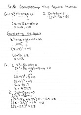 MATH 10 Fall 2009 Completing the Square Method Examples