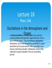 Lecture 18 Oscillations in the Atmosphere and Ocean