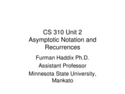 CS 310 Unit 2 Asymptotic Notation and Recurrences