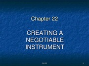 B & S CH 22 - Creating a Negotiable Instrument