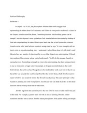 Faith and Philosophy Reflection paper