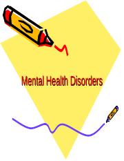 Mental Health Disorders Powerpoint.ppt