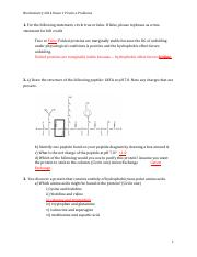 Biochem 2014 Exam 1 Practice Problems- KEY