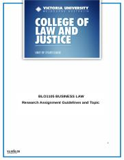 BLO1105 - Business Law Assignment Topic and Instructions
