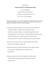 consumer behavior exam question paper