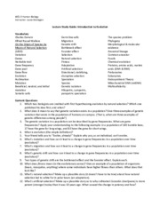 Lecture Study Guide Intro to Evolution Bio 9 Sp 12
