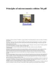 Principles of microeconomics edition 7th pdf