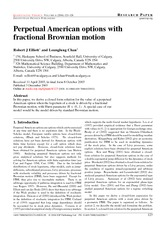 A Closed Form Solution for Perpetual American Options with a Fractional Brownian Motion(Elliott and