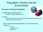 Lecture 8 Population, Poverty and the Environment
