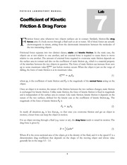 Lab #07 Coefficient of Kinetic Friction and Drag Force