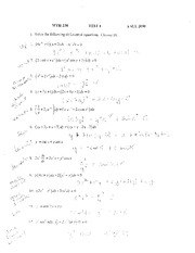 Test 1 Solution Fall 2010 on Applied Differential Equations