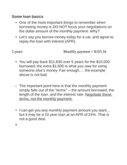 Notes on Loans (Basic Info)
