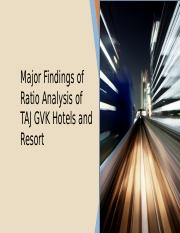 Ratio Analysis of TAJ GVK Hotels and Resort