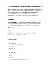 Lectuure 3 ec102 Rules of Logarithms and Base e